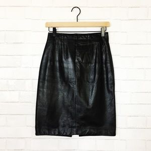 Vintage Black 100% Genuine Leather Pencil Skirt